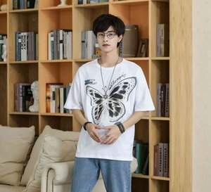 Print Guochao Short Butterfly Sleeve T-shirt Summer Fashion Brand Hip Hop Bf Style Loose Casual Men's and Women's Trend