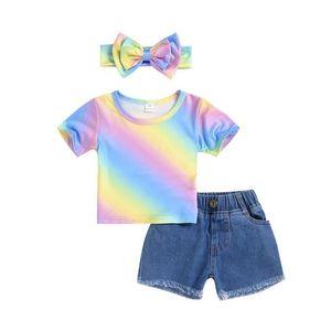 Baby Girls Outfits Children Rainbow Top Short Sleeve +Denim Shorts + Bow Headband 3pcs set Summer Kids Clothing Sets