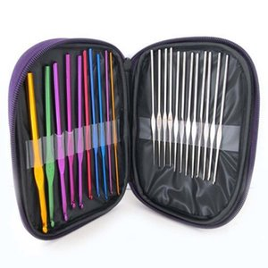 22Pcs Aluminum Set Multi-colour Knit Weave Craft Yarn Sewing Tools Crochet Hooks Knitting Needles WJDT 8GX0