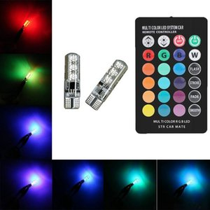 12V T10 W5W RGB Car Atmosphere Light 5050 Bulbs with Remote Control Interior Lighting Car Styling