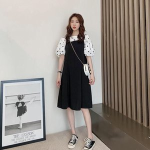 Fashion fat pretty girl female sex 2021 Korean skirt version loose and thin wave dot Top + suspender two-piece suit women's conjoined student trendy dress
