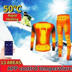 Лыжные костюмы зимнее подогрев нижнее белье костюм USB аккумулятор электрический нагрев термический смарт-телефон контроль температура мотоцикл куртка