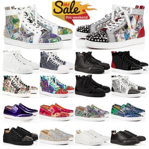 Novos Spikes de Luxo Sapatos Studded Moda Vermelha Camurça De Couro Mens Sneaker Womens Flat Bottoms Shoe Party Lovers Top Quality Tamanho 36-48 com caixa