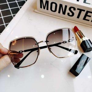 Sunglasses Women's fashion 2021 gradient women's cat's Eye mesh red large frame diamond glasses