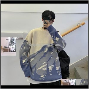 Clothing Apparel Drop Delivery 2021 Men Sweater Streetwear Mountain Tree Pattern Hip Hop Autumn Pullover Spandex Oneck Oversize Couple Casual