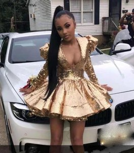 Deep V Neck Prom Dresses Gold Colour Sequins Long Sleeves Ruffles African Girls Evening Party Gowns Women Wear Plus Size Available