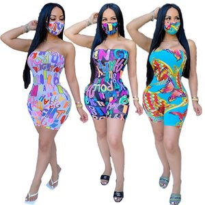 Designer Women's Clothing 2021 Shortcut, strapless Jumpsuit (mask included) Digital Print Sexy Wrap Dress