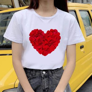 Casual Tops Tee Harajuku 90s Vintage White Tshirt Female Clothing Summer Women T-shirt Heart Theme Printed Tshirts Women's