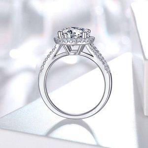 ring S925 silver ring group set wedding ring luxury round pack 3.0 Moissanite