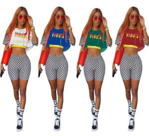 Женские напечатанные трексуиты две части наборы моды шелковый плед с короткими рукавами рубашка шорты наряды случайные лето женские трексуиты плюс размер женщин одежда S-3XL