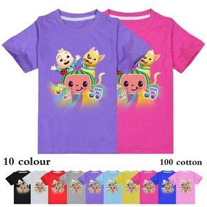 Summer Cartoon Children's Short Sleeve T-shirt Cotton Cocomellon Jj Boys Pattern Casual Sports Baby Kids Round Neck Top Tees G832EDM