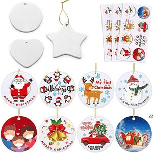 Blank White Sublimation Ceramic Pendant Creative Christmas Ornaments DIY Heat Transfer Printing Heart, Round, Star Shape HWF8379