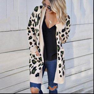 Bayan Kazak Uzun Hırka Cep Leopar V Boyun Sonbahar Ve Kış Avrupa Warmn Kazak Giyim Kadın Vestidos MMY77052