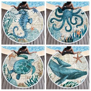 4style European and American Ocean series beach towel Octopus seahorse turtle cute adult microfiber Blanket T2I51875
