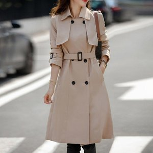 Women's Trench Coats 2021 Autumn Red Vintage Long Coat For Women Baggy Casual Windbreaker Female With Belt Clothes Plus Size 3XL