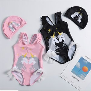 2Pcs Set Kids Girls Beachwear One Piece Ruffled Strap Romper Swimsuits Cartoon Horse Swimwear With Hat