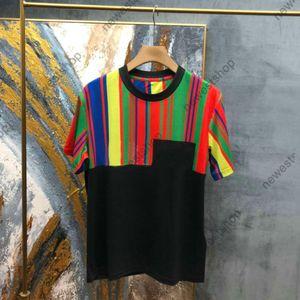 2021 летние новые мужские дизайнерские роскошные футболки женские сращивания радуги печатают футболку хлопковая буква печати футболка повседневная футболка Tee Tee
