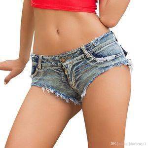 Sexy Summer Ripped Pocket Pole Dance Thong Bar Shorts Women Jeans Denim Blue Low Waist Clubwear S-L