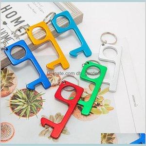 Housekeeping Organization Home Garden Aluminium Alloy Portable Press Tool Handle Keychain Notouch Door Opener Elevator Button Ljjk2204