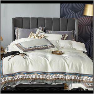 Supplies Textiles Home & Garden Drop Delivery 2021 4Pcs Sateen Cotton Bedding Set Queen King Size Vintage Boho Duvet Sets Comforter Cover Fla