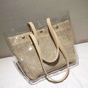Large capacity beach bag summer plastic straw waterproof style