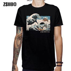 Zsiibo Японская футболка Harajuku мужской летний хип-хоп футболки суши лодка мультфильм стрит футболка повседневная волна вершина HY1MC55