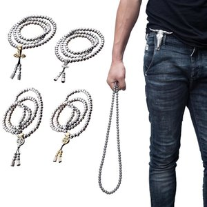 Hand Bracelet Necklace Chain 108 Buddha Beads Full Steel Men Outdoor Self Defense Personal Protection Jewlery Pendant Necklaces