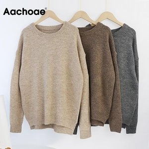 AACHOAE O COLOR CASHMERE Jersey Suéter Mujer Batwing Manga Larga Flojo Soft Wool Sweaters Puentes de punto Tops Casuales Pullover1