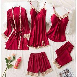 Agotyoo 5 piézas conjuntos pijamas Encaje Mujeres Mujeres Pijama Imitacin Seda Bata Verano Y Oroto, Traje Ropa de