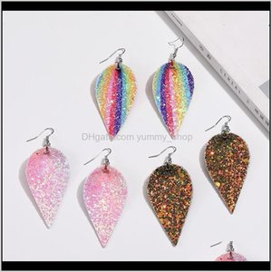 Charm Unique Design Christmas Pu Leather Leaf Oval Earrings Fashion Sequin Glitter Colorful Double Side Dangle Earring Jewelry Gifts F Swh21