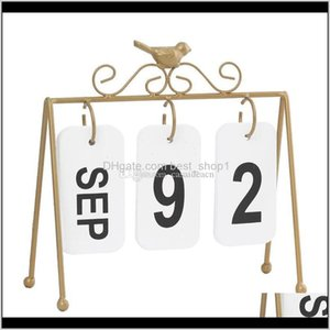 Supplies School Business & Industrial Drop Delivery 2021 Nordic Iron Bird Vintage Wooden Perpetual Calendar Desk Decoration Crafts For Home O