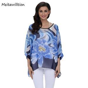 MEITAWILLION BOHO STYLE Sommerhemd Bluse 2021 Casual Batwing Sleeve Lady Chiffon Blusas plus Größe 4XL 5XL 6XL Kleidung Frauen Blusen