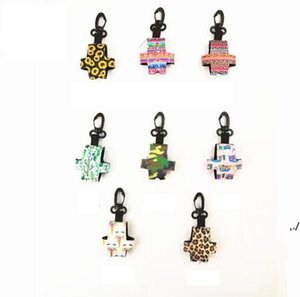 8 Styles protable hand sanitizer bottle cover for 30ml colorful neoprene cover with clip-on key chain soft printed perfume bottle DWD6996