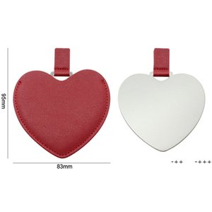 Portable Heart Shaped Stainless Steel Pocket Makeup Mirror PU Leather Travel Mini Mirrors Creative DIY Gift Supplies FWA8872