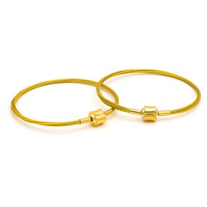 link Titanium steel for men and women can wear 3D hard gold simple DIY wire fashion bracelet rope