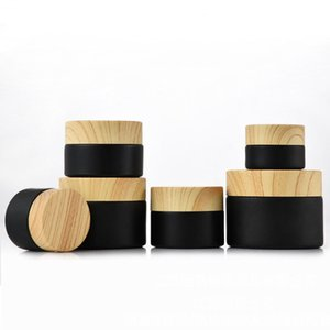 Black frosted glass cosmetic jars with woodgrain plastic lids PP liner 5g 10g 15g 20g 30 50g lip balm cream containers S40U