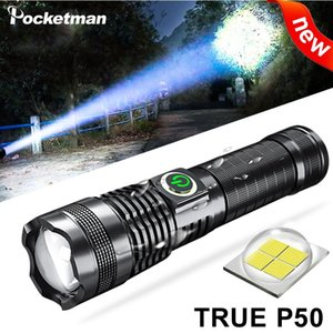 Flashlights Torches XHP50 800000 Lumens LED Built-in Battery Power Display Torch USB Light Charging 5 Modes With Zoomable