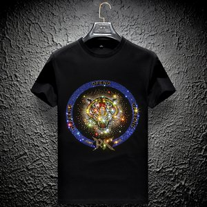 flash diamond t-shirt mens short-sleeved tiger head mercerized cotton social body shirt handsome plus size men's half-sleeved clothes
