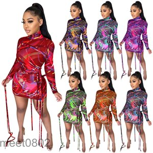 2021 Spring and Autumn Women dress Designer high-neck sexy women's mesh bandage Printed Dress Long Sleeve Slim Fashion Casual Clothing