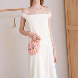 Women Coral Velvet Thickened Bathrobe Super Absorbent Lovely Adult Sling Home Bath Skirt Pajamas Drop Shower Caps