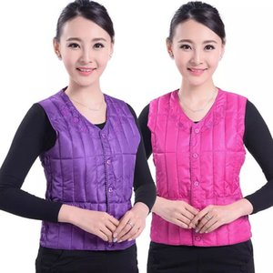 Body fitted waistcoat women's short autumn and winter mother's large shoulder jacket middle-aged and old women's warm vest with down cotton
