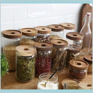 Storage Bottles & Jars Home Organization Housekeeping Garden 350 500 750 1000 1700Ml Wooden Lid Jar High Borosilicate Transparent Glas