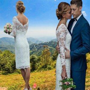 2021 Simple V Neck Sheath Wedding Dress Ivory Lace Long Sleeve Beach Short Bridal Gowns
