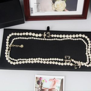 Pearl letter long sweater chain necklace fashion temperament