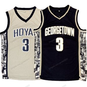 Корабль из США Аллен Иверсон # 3 Georgetown Hoyas College Баскетбол Джерси мужская прошитая синий серый размер S-3XL высочайшее качество