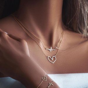 Creative Heartbeat Heart-shaped Pendant Necklace Simple Double Layer Gold Sweater Chain Accessories Fashion Jewelry Necklaces