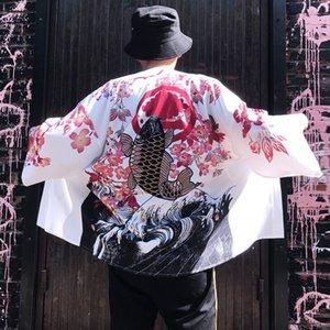 Japanese Style Cat Samurai Kimono Streetwear Blouse Men Women Cardigan Japan Harajuku Anime Robe Anime Clothes 2021 Summer Shirt