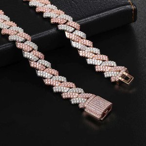 necklaceHip hop full Bar Bracelet 13mm Diamond Cuba chain real gold electroplating micro inlaid zircon powder White Necklace