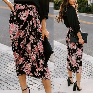 Womens Skirts Printed Slit Lace Irregular Plus Size Summer Autumn High Waist