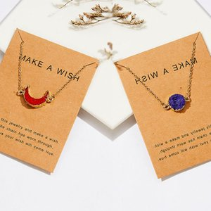 Newest Crystal Quartz Druzy Crescent Moon Imitation Natural Stone Resin Pendant Paper Card Necklace